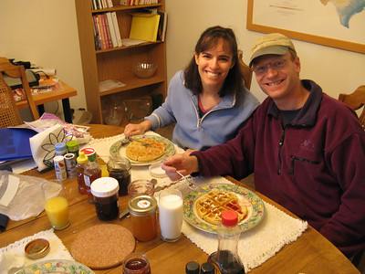 Saturday morning - waffles with homemade honey and preserves. Debbie doesn't show yet, but their first kid is due next May.