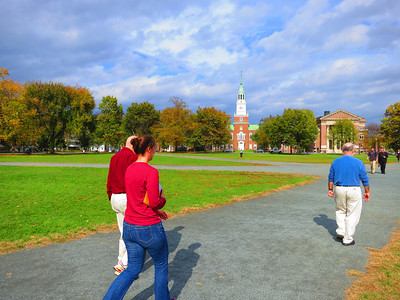 Following lunch, heading to the steepled campus library ...