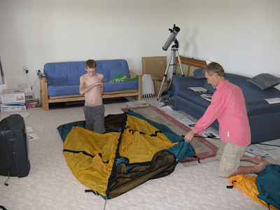 Saturday morning, 8/2: Checking out our three-man tent, although we eventually switched to a two-man and a one-man.
