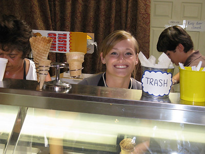 My niece Kelly, dishing out Josh & John's ice cream.