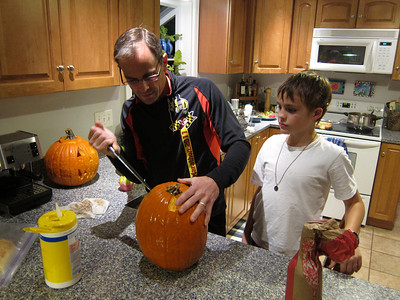 The day before Halloween and Kevin goes grisly as Zach stands ready to do the carving.