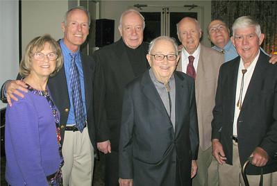 L-R: MaureenCates, Bill, Monsig. Francis Weber, Glen, John Robinson, Bob Cates and Lou Lanzer. Photo by Diana Dawson.