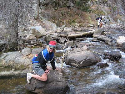 Iona is breaking in a wild rock.
