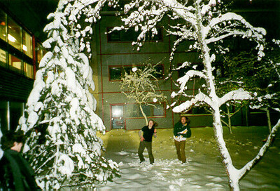 Claudia and Nicole throwing snowballs  -- Tampere, Finland 1999.  I don't know the exact photo dates; sometime between Sept and Dec 1999.  Photos of the friends I studied with inTampere Finland at the Technical University of Tampere.