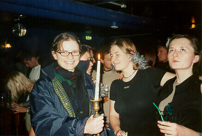 Marta, Claudia, & Ola with the International Candle -- Tampere, Finland 1999.  I don't know the exact photo dates; sometime between Sept and Dec 1999.  Photos of the friends I studied with inTampere Finland at the Technical University of Tampere.