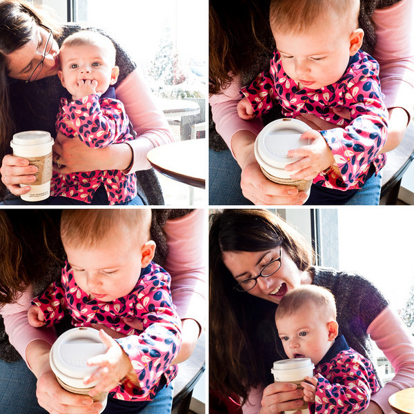 i encouraged norah to start her coffee habit at an early point in life. <br /> ps. she didn't actually get to taste any. sadly.