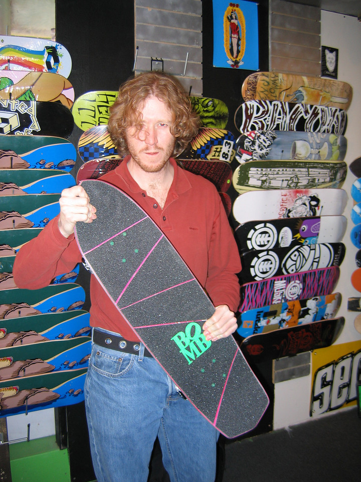I just couldn't resist getting a new board so I could go ride the Missoula Skatepark. Note the '80s slashed griptape job. Sweet brah!!!!