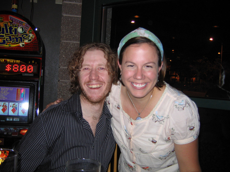 Heidi, still smiling, with some scraggley looking guy. Oh wait, that's me.