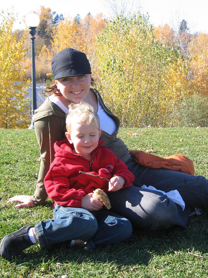 Anneke (super mom) and Liam (AKA Leo the ninja turttle) at Caras Park.