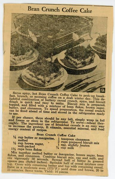 Bran Crunch Coffee Cake