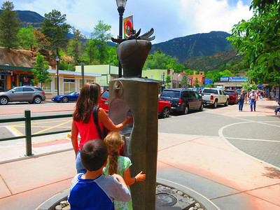 One of the several mineral springs in Manitou. The Incline in background.