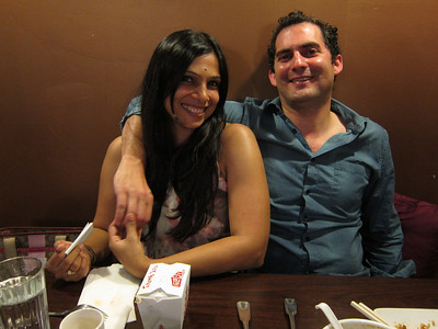 Beau & his friend Charu at Indonesian restaurant. .. Charu was on a business trip to CA.