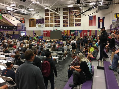 Leadville 100 check-in at the county high school.