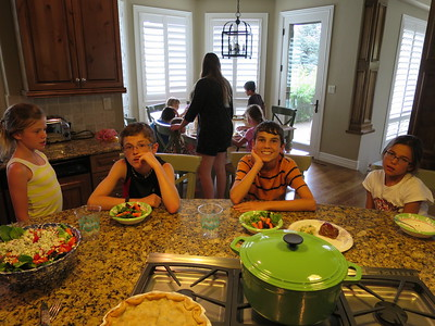 All right - Wed, 6/10, at Uncle Brian and Aunt Ann's home in Littleton (a suburb of Denver). Check out that homemade pie in the foreground!