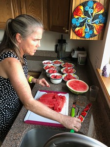 """This is not Clare's """"first rodeo"""" when it comes to mastering a watermelon."""