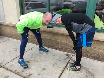 Outside Caribou, post-run stretching.