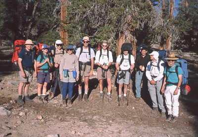 Sat morning, July 24, 1999 - eager to head out on backpack to camp. ... Sam is 4th from right. [I'm taking the photo.]