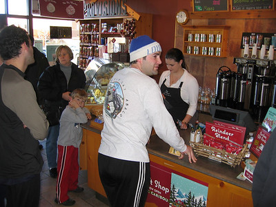 Caribou Coffee - celebrating after our run at Ritter Park early Thxgiving afternoon.  Sam the Man treats!