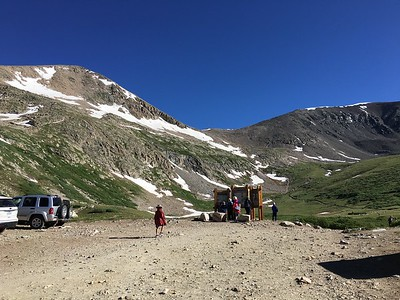 Kite Lake Trailhead at 12,000.'   Mt D summit is just behind peak on left.  We'll be heading first for the saddle in the middle.