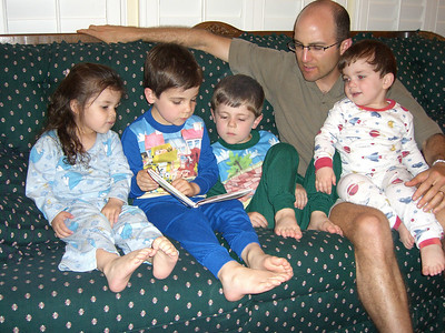 Colin deftly reading bedtime stories to Daddy and rapt audience. Colin also recited from memory a lot of poetry by Robert Louis Stevenson plus Psalm 23 by David.