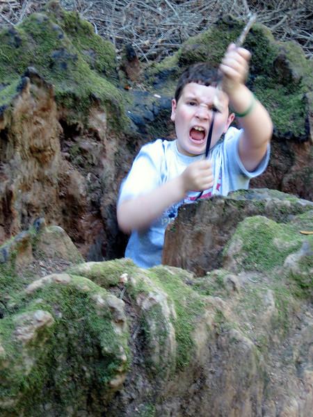 Ezra stuck in Redwood trunk in Baltimore Canyon.