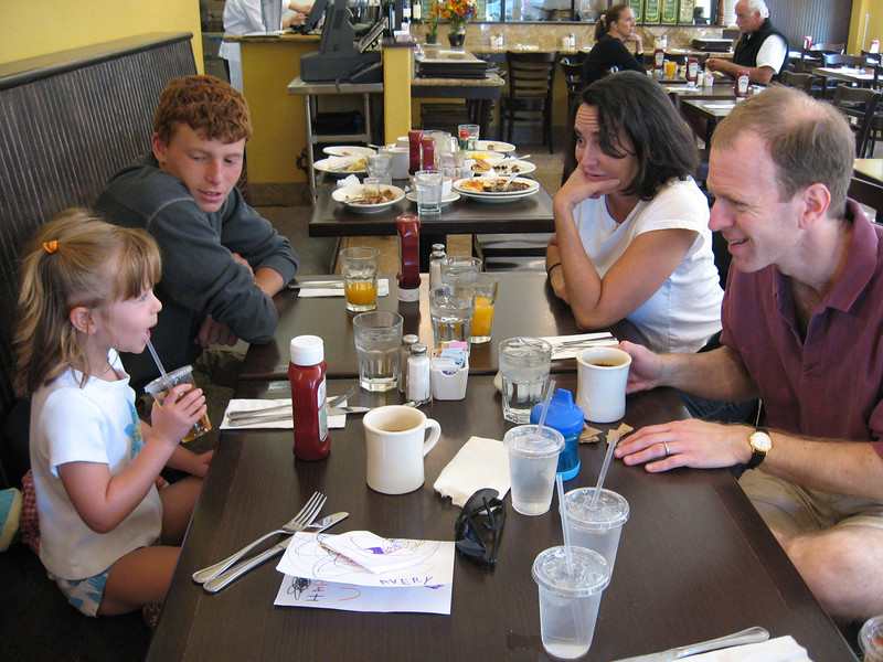 Avery, Jonathan, Debbie, Alvin.  Breakfast at Barefoot Cafe, Fairfax