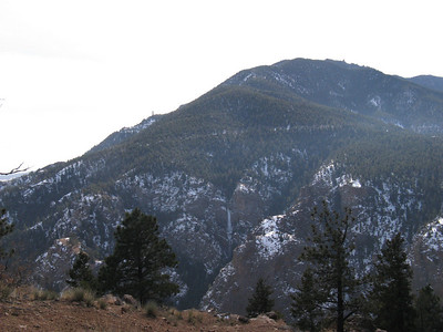 My morning recon of our route up Mt Cutler Trail. Can you see the frozen waterfall?