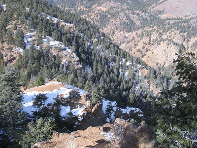 From top of Cutler, looking west;  N. Cheyenne Cyn with TH out of sight below.