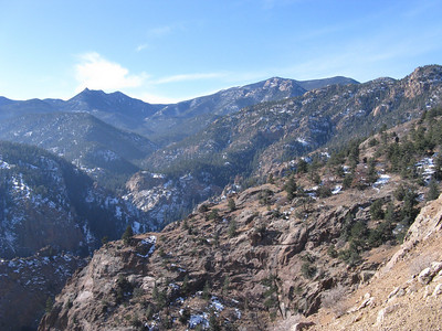 Seven Falls back in sight.  The pointy peak left of center is Mt Vigil, which has a fun rock scramble at the summit.