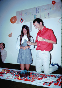 June 29, 1971 - Bill's 28th birthday in Santa Monica with girlfriend Andrea. Andrea and I met one summer as counselors at UCLA's UniCamp (the Braille Session). Frank is at left, one of my three roommates sharing the apartment (we also met at UniCamp).