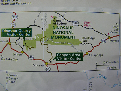 OK - an overview of our route.  [This map is showing the roads, but not the rivers.] We all drove from Vernal to Maybell, then NW to Gates of Lodore.