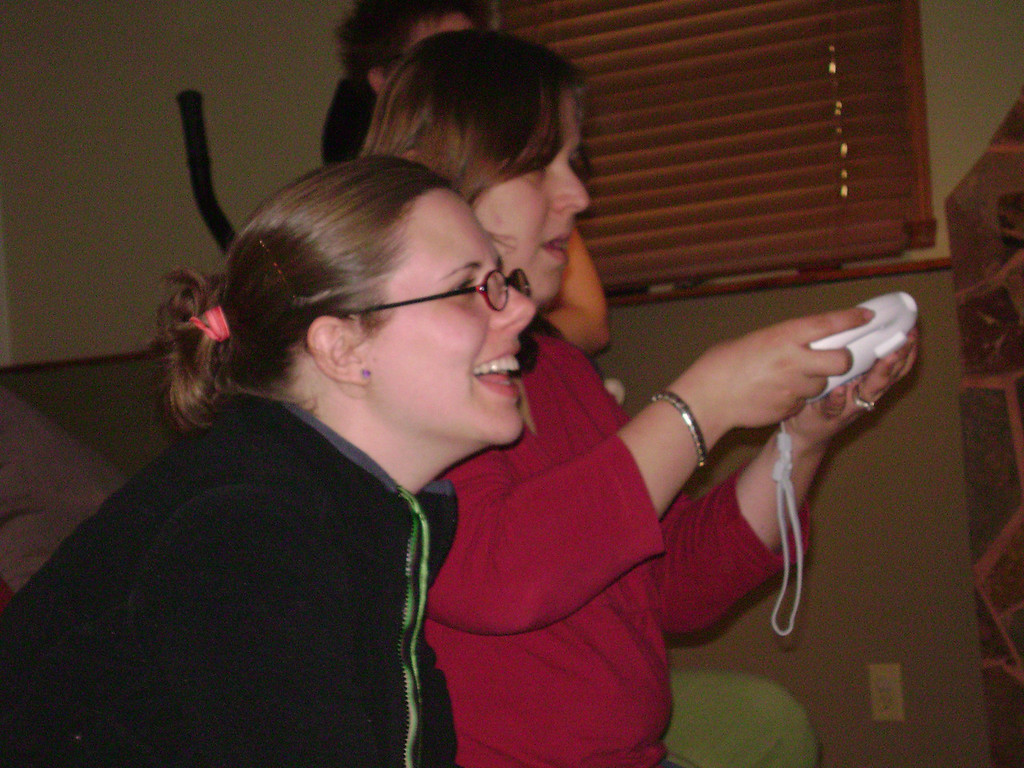 Angel and Jenny playing Mario Cart on the Wii when Angel, Darrin, and Lucian visited the Berry's.  May, 2008