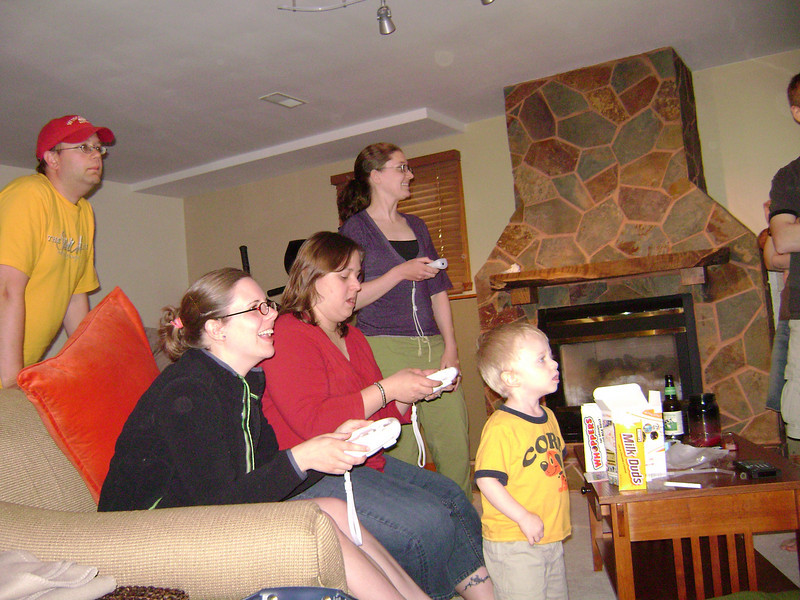 Nate, Erin, Angel, Jenny and Elliott playing Mario Cart on the Wii when Angel, Darrin, and Lucian visited the Berry's.  May, 2008