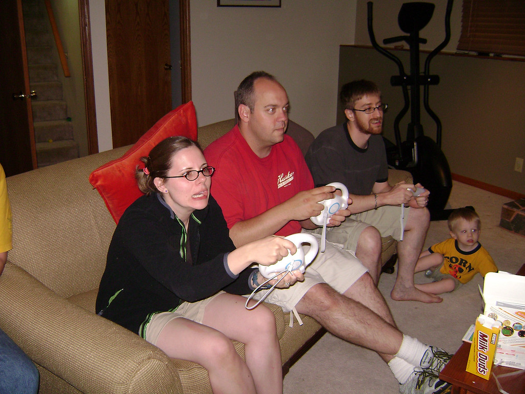 Jenny, Darrin, and Josh playing Mario Cart on the Wii when Angel, Darrin, and Lucian visited the Berry's.  May, 2008