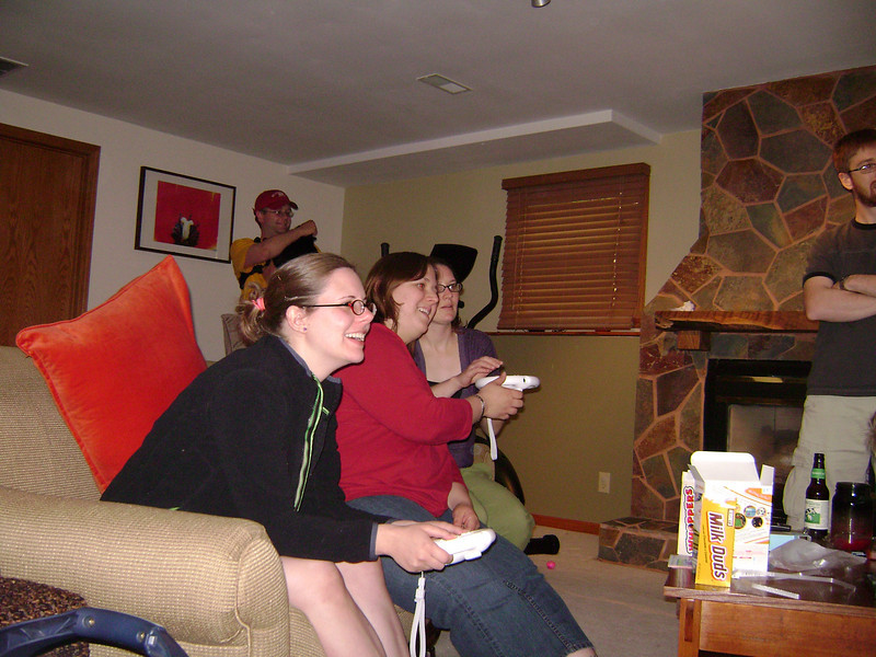 Nate, Erin, Angel, Jenny and Josh playing Mario Cart on the Wii when Angel, Darrin, and Lucian visited the Berry's.  May, 2008