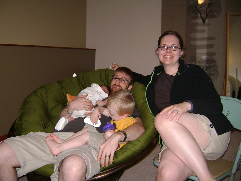 Josh, Jenny, Elliott, and Soren Swenson at the Berry's when Angel, Darrin, and Lucian visited.  May, 2008