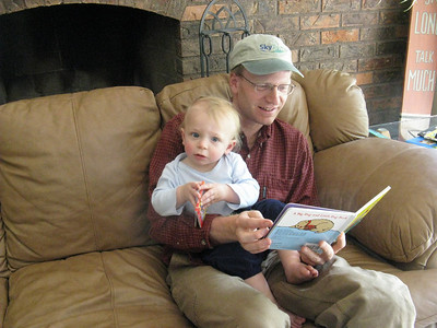 Joel practicing his reading.
