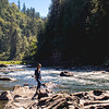 Hannah on Rocks at Snoqualmie River