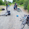 Just one mile from the parking lot we've stopped for another brake... something on Stephen's bike musta broke.