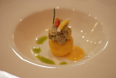 Causa: whipped Andean potato topped with guacamole, egg, pepper