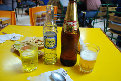 Cusqueña (local beer) and Inca Kola (tastes like bubble gum)