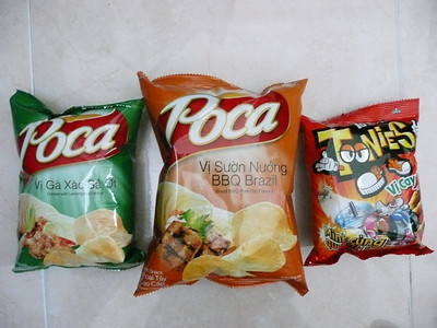 Lay's chips - chicken & lemongrass chile, Brazilian bbq, and Cheetos-like chips