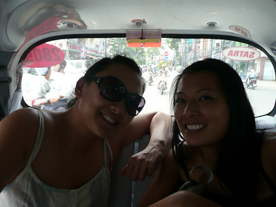 Within Saigon, we'd take taxis. I'm sporting my new sunglasses. I dropped them in Nha Trang and the screw fell out.
