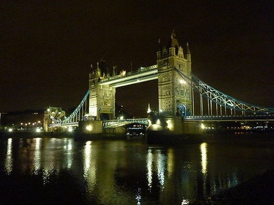In addition to about 4 miles during the day, we ended up walking another 10 miles that night. We strolled along the south embankment and decided to cross back along the Tower Bridge, the prettiest of bridges
