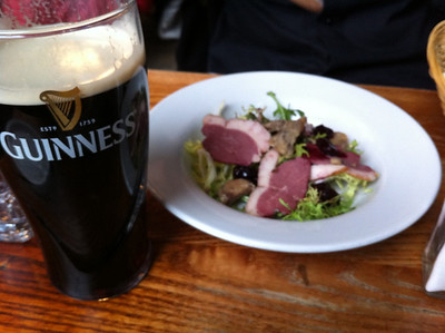 Day 3 (London/Brussels): Most of the restaurants we wanted to try were closed for the holidays so we searched that morning for fish n chips without success. Ended up at another gastropub. *duck salad and Dan's Guinness at Union Tavern