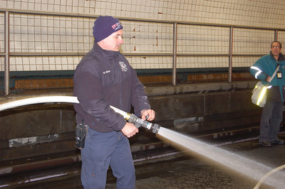Ed Gray, Car 1, trains for his back-up employment of following the horses in the Macy's Thanksgiving Day Parade.