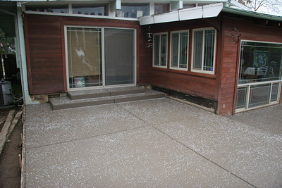 The old deck was level with that sliding door.