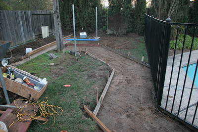 Forms in place for sidewalk to new shed location (if we can get it back there)