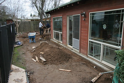 Prepping rear patio area for new drainage