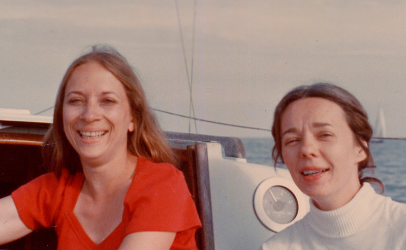 Barb and Barb on Barb's boat not sure of year...<br /> Kobjourn took the photo..